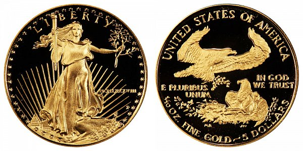 1988 P Proof Tenth Ounce American Gold Eagle - 1/10 oz Gold $5  - MCMLXXXVIII