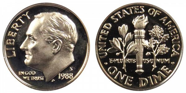 1988 S Roosevelt Dime Proof