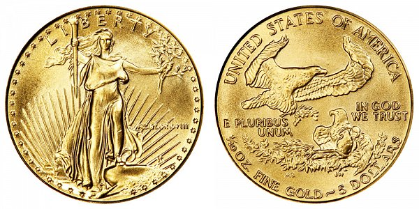 1988 Tenth Ounce American Gold Eagle - 1/10 oz Gold $5  - MCMLXXXVIII