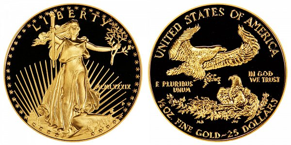 1989 P Proof Half Ounce American Gold Eagle - 1/2 oz Gold $25  - MCMLXXXIX