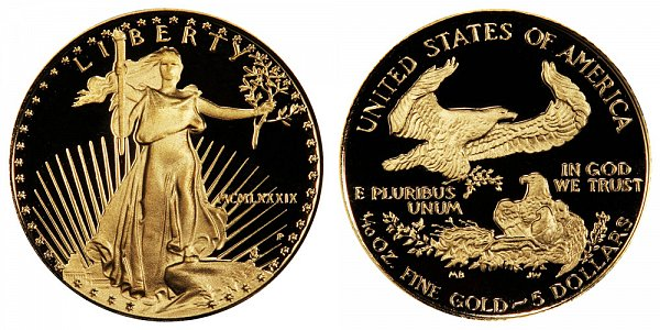 1989 P Proof Tenth Ounce American Gold Eagle - 1/10 oz Gold $5  - MCMLXXXIX