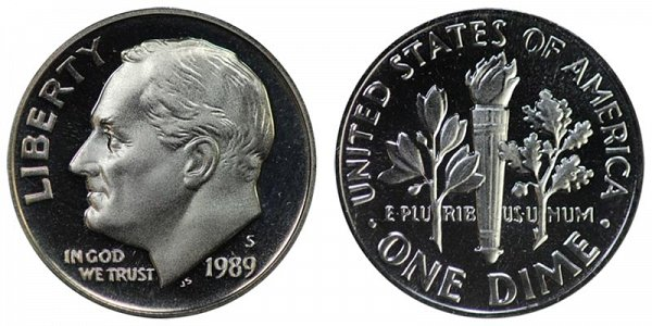 1989 S Roosevelt Dime Proof