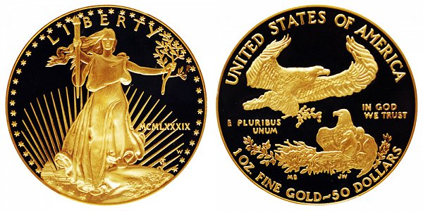 1989 W Proof One Ounce American Gold Eagle - 1 oz Gold $50  - MCMLXXXIX