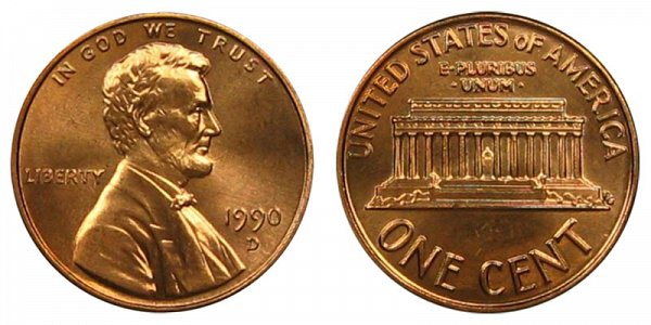 1990 D Lincoln Memorial Cent Penny