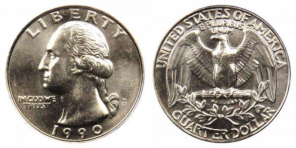 1990 D Washington Quarter