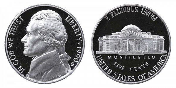 1990 S Jefferson Nickel Proof