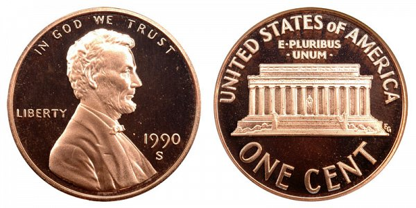 1990 S Lincoln Memorial Cent Penny Proof