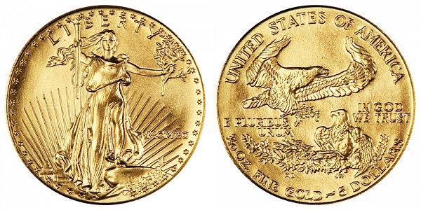 1990 Tenth Ounce American Gold Eagle - 1/10 oz Gold $5  - MCMXC
