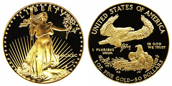 1990 W Proof One Ounce American Gold Eagle - 1 oz Gold $50  - MCMXC