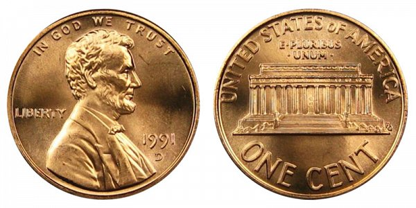 1991 D Lincoln Memorial Cent Penny