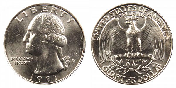 1991 D Washington Quarter
