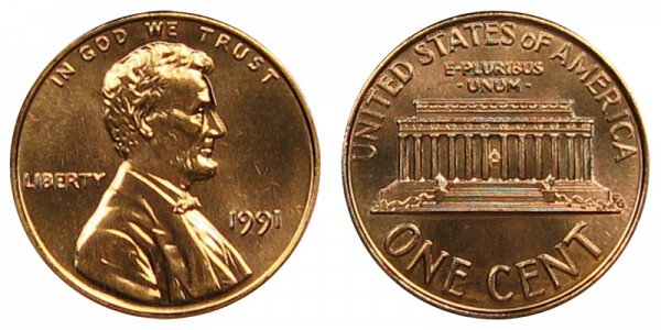 1991 Lincoln Memorial Cent Penny