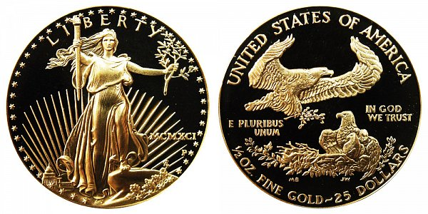 1991 P Proof Half Ounce American Gold Eagle - 1/2 oz Gold $25  - MCMXCI