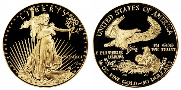 1991 P Proof Quarter Ounce American Gold Eagle - 1/4 oz Gold $10  - MCMXCI