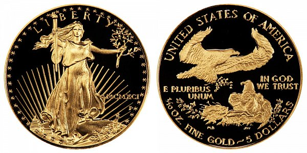 1991 P Proof Tenth Ounce American Gold Eagle - 1/10 oz Gold $5  - MCMXCI