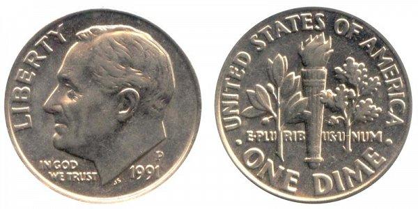 1991 P Roosevelt Dime