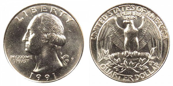 1991 P Washington Quarter
