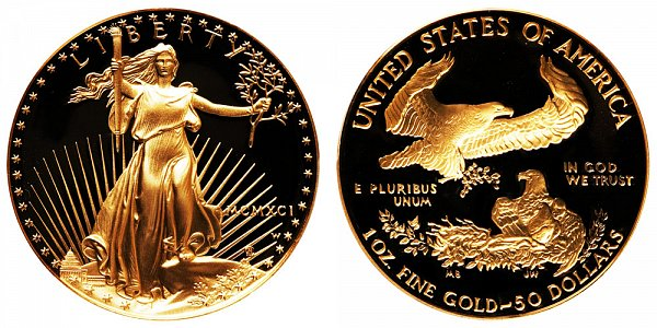 1991 W Proof One Ounce American Gold Eagle - 1 oz Gold $50  - MCMXCI