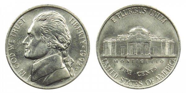 1992 D Jefferson Nickel