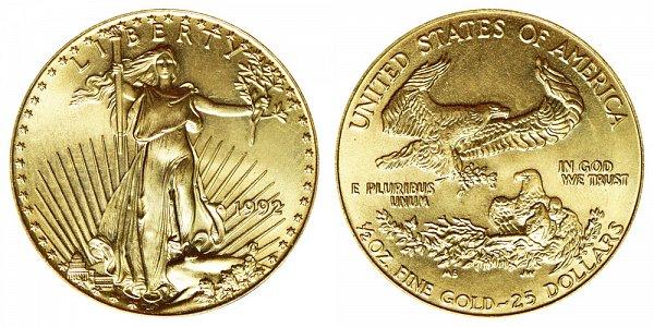 1992 Half Ounce American Gold Eagle - 1/2 oz Gold $25