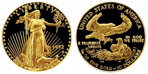 1992 P Proof Quarter Ounce American Gold Eagle - 1/4 oz Gold $10