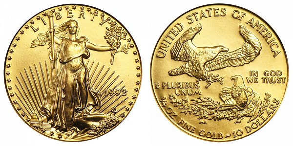 1992 Quarter Ounce American Gold Eagle - 1/4 oz Gold $10