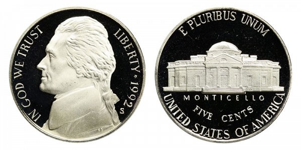1992 S Jefferson Nickel Proof