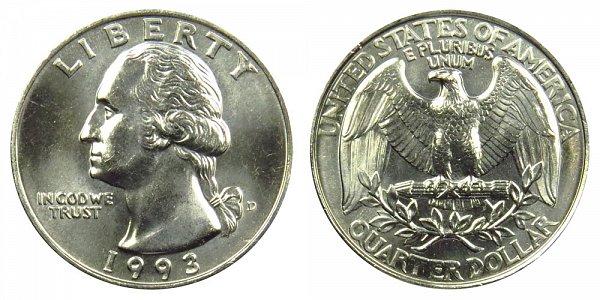 1993 D Washington Quarter