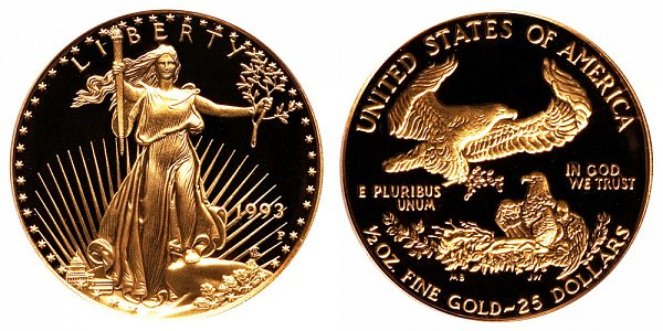 1993 P Proof Half Ounce American Gold Eagle - 1/2 oz Gold $25
