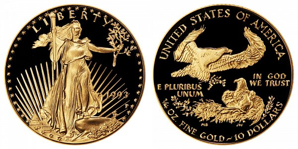 1993 P Proof Quarter Ounce American Gold Eagle - 1/4 oz Gold $10