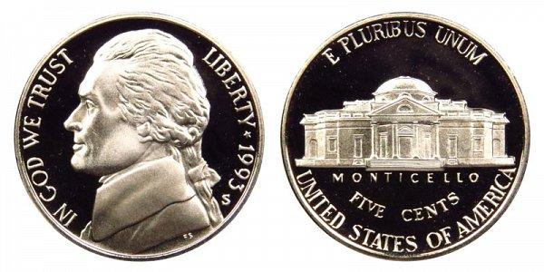 1993 S Jefferson Nickel Proof