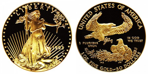 1993 W Proof One Ounce American Gold Eagle - 1 oz Gold $50