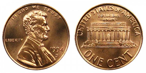 1994 D Lincoln Memorial Cent Penny