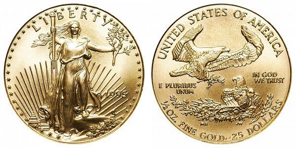 1995 Half Ounce American Gold Eagle - 1/2 oz Gold $25