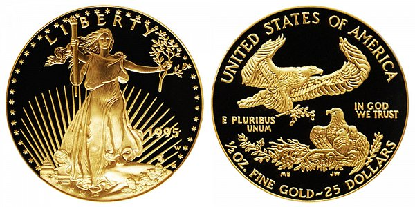1995 W Proof Half Ounce American Gold Eagle - 1/2 oz Gold $25