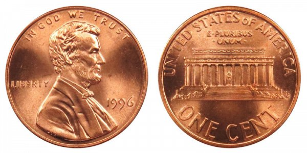 1996 Lincoln Memorial Cent Penny