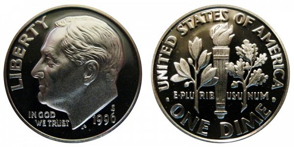 1996 S Roosevelt Dime Proof