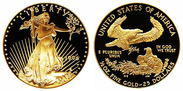 1996 W Proof Half Ounce American Gold Eagle - 1/2 oz Gold $25