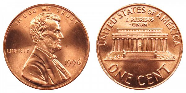 1996 Wide AM Lincoln Memorial Cent Penny