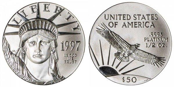 1997 Half Ounce American Platinum Eagle - 1/2 oz Platinum $50