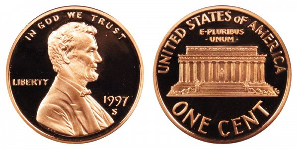1997 S Lincoln Memorial Cent Penny Proof