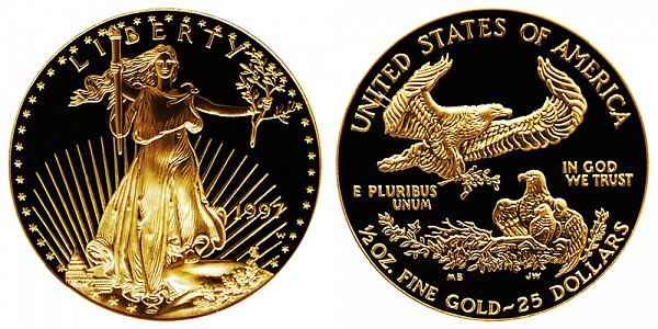 1997 W Proof Half Ounce American Gold Eagle - 1/2 oz Gold $25