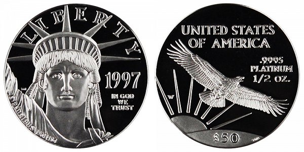 1997 W Proof Half Ounce American Platinum Eagle - 1/2 oz Platinum $50