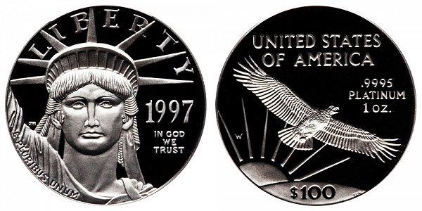 1997 W Proof One Ounce American Platinum Eagle - 1 oz Platinum $100