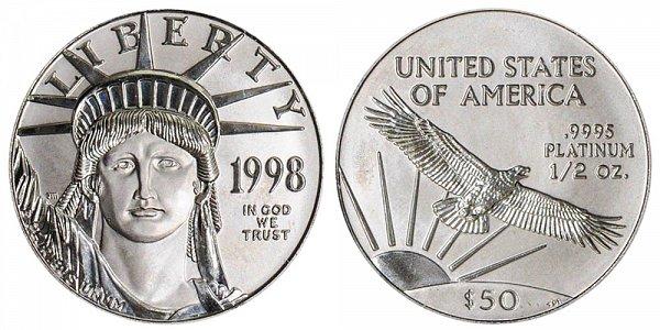 1998 Half Ounce American Platinum Eagle - 1/2 oz Platinum $50