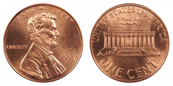 1998 Lincoln Memorial Cent Penny