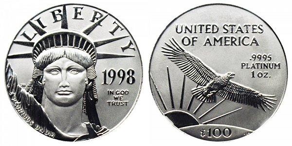 1998 One Ounce American Platinum Eagle - 1 oz Platinum $100
