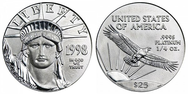 1998 Quarter Ounce American Platinum Eagle - 1/4 oz Platinum $25