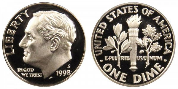 1998 S Roosevelt Dime Proof