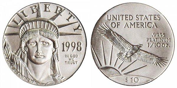1998 Tenth Ounce American Platinum Eagle - 1/10 oz Platinum $10